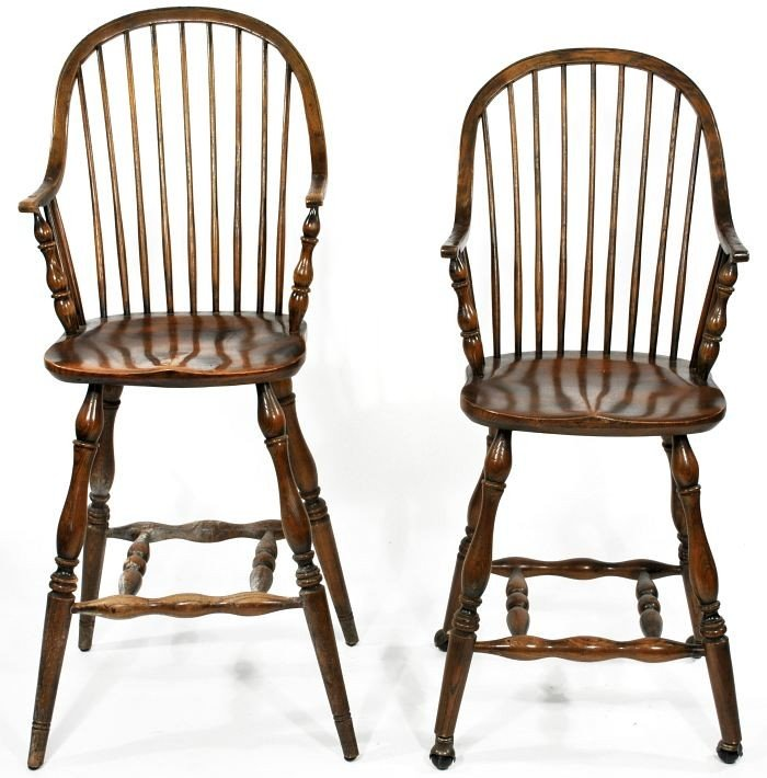 20: A Pair of Windsor Style Oak High Chairs, 20th Centu
