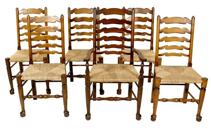 22: Six Slat-back Pine Side Chairs with Rush Seats, 20t