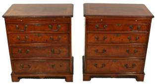 50: A Pair of Georgian Style Mahogany Low Chest of Draw