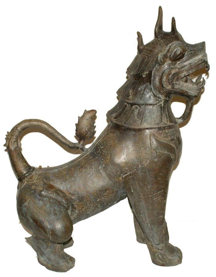 2: A Pair of Massive Burmese Bronze Temple Lions, 20th