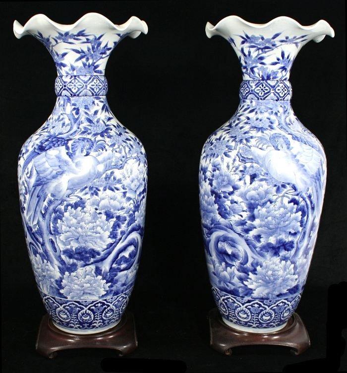 4: A Pair of Large Japanese Arita Porcelain Vases, Meij