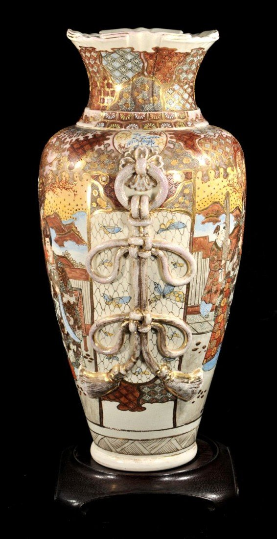 6: A Large Satsuma Earthenware Vase, 20th Century,