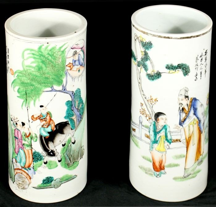 11: A Pair of Chinese Porcelain Cylinder Vases, 19th Ce