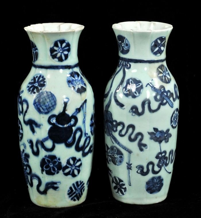 13: A Pair of Chinese Blue and White Celadon Porcelain