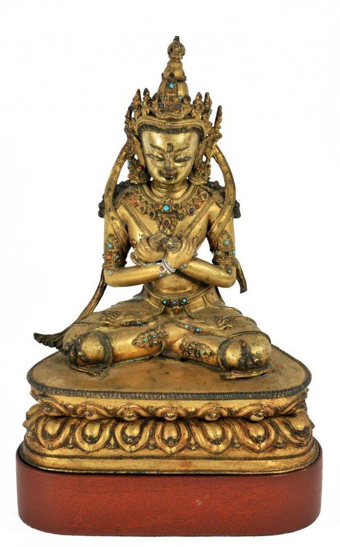 38: A Gilt Bronze Figure of Vajradhara, Tibet, 17th Cen