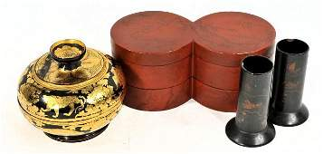 43 A Group of Chinese Lacquered Decorative Items 19th