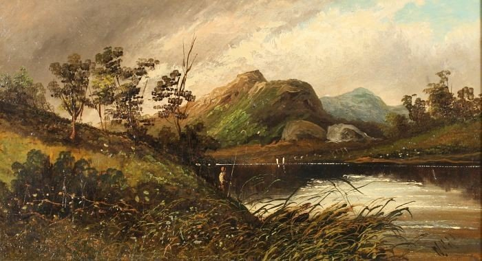 5: W. Hall (English, 19th Century) Landscape with Figur