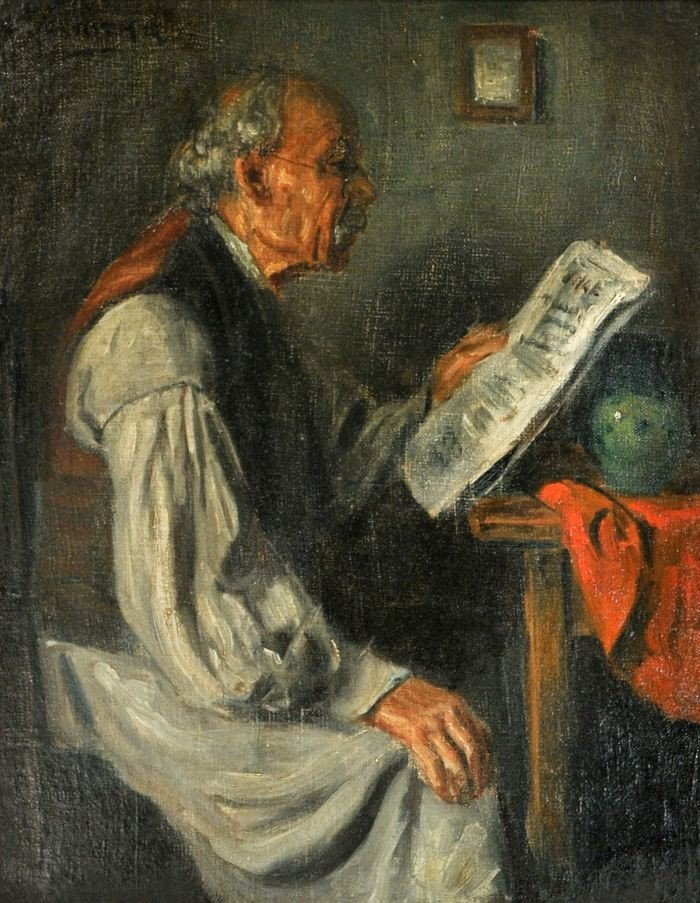 13: George Horvath (b.1933) Old Man Reading, Oil on boa