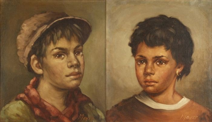 19: Mayer (20th Century) Two Portraits of Children, Oil