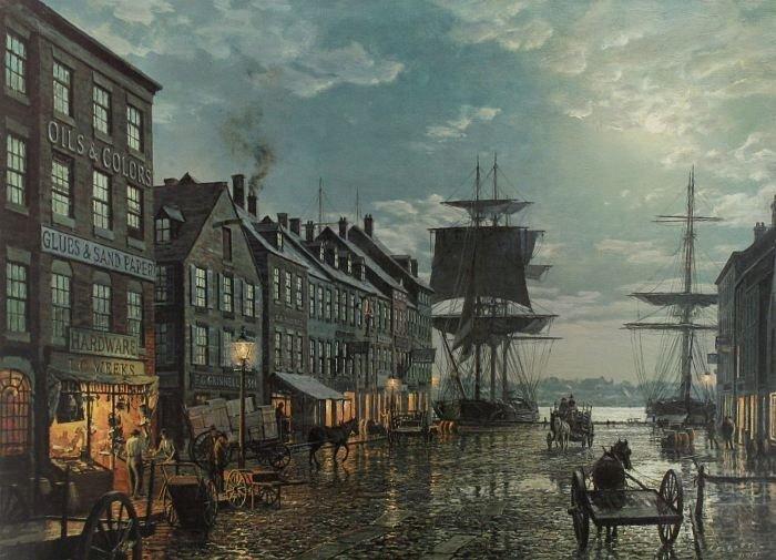 77: John Stobart (b.1929) Maiden Lane, New York in 1800
