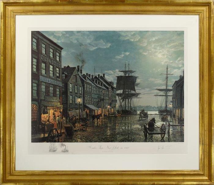 77: John Stobart (b.1929) Maiden Lane, New York in 1800 - 2