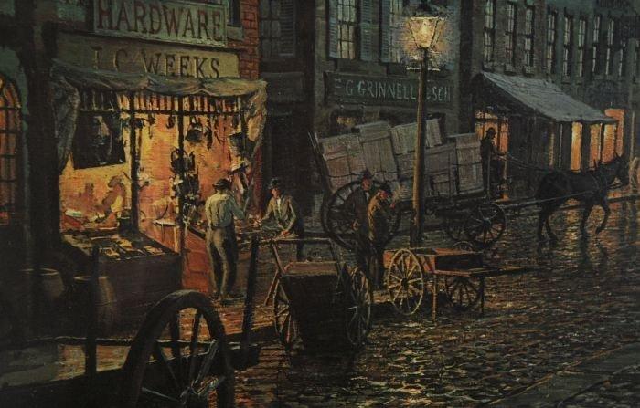 77: John Stobart (b.1929) Maiden Lane, New York in 1800 - 3