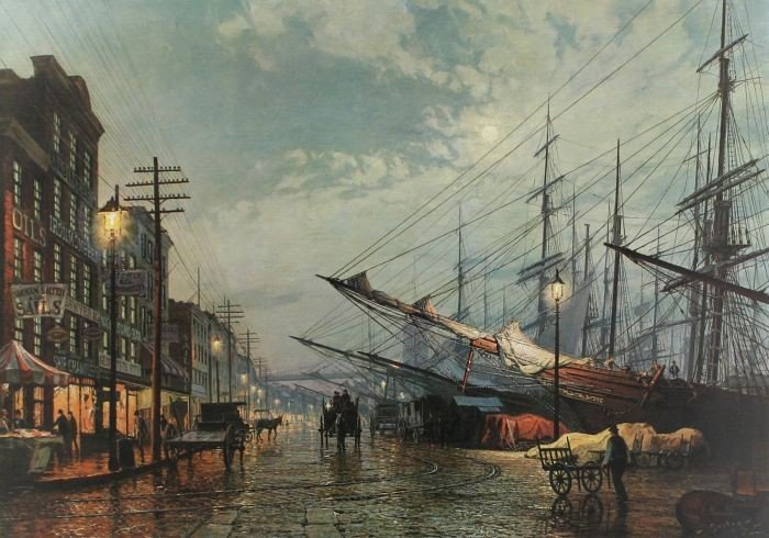 78: John Stobart (b:1929) South Street, New York in 188