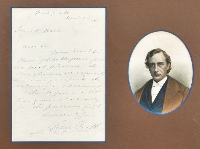 4: BOOTH, Edwin Thomas (1833-1893). Autograph Letter, S