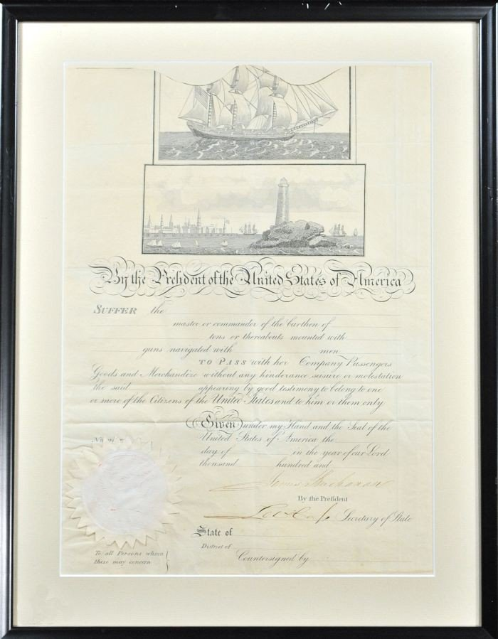 6: BUCHANAN, James Jr. (1791-1868). A Signed Scallop-to