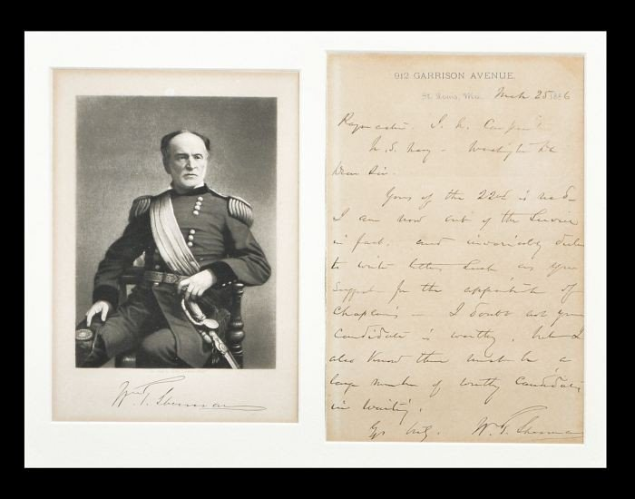 20: SHERMAN, William Tecumseh (1820-1891). Autograph Le
