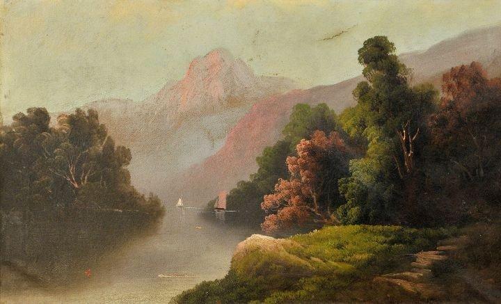 1: Hudson River School (19th Century) River Scene, Oil