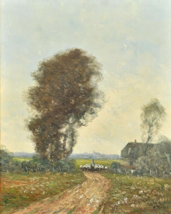 2: M.R. (20th Century) Landscape with Sheep, Oil on can