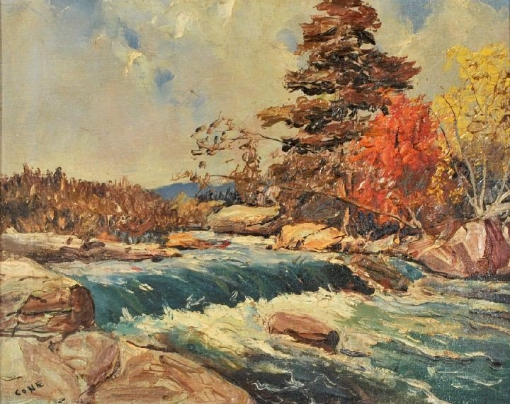 7: Cone (20th Century) Landscape with River, Oil on can