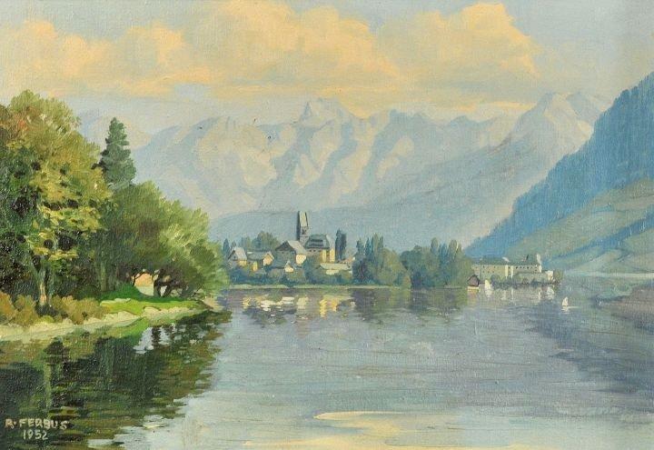 8: Rudolf Ferbus (b. 1929) Alpine Scene with Lake, Oil