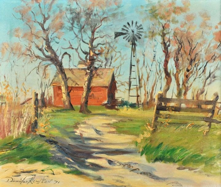 10: Dimitre Keustev (20th Century) Landscape with Barn