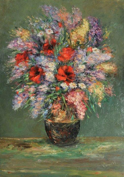 21: V. Voicu (20th Century) Floral Still Life, Oil on c