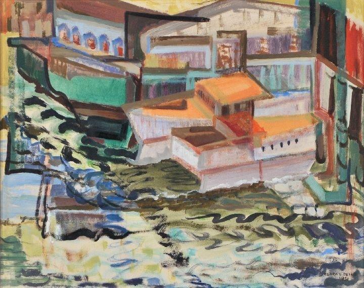 22: Clara L. Deike (1881-1964) Boats on a River, Waterc