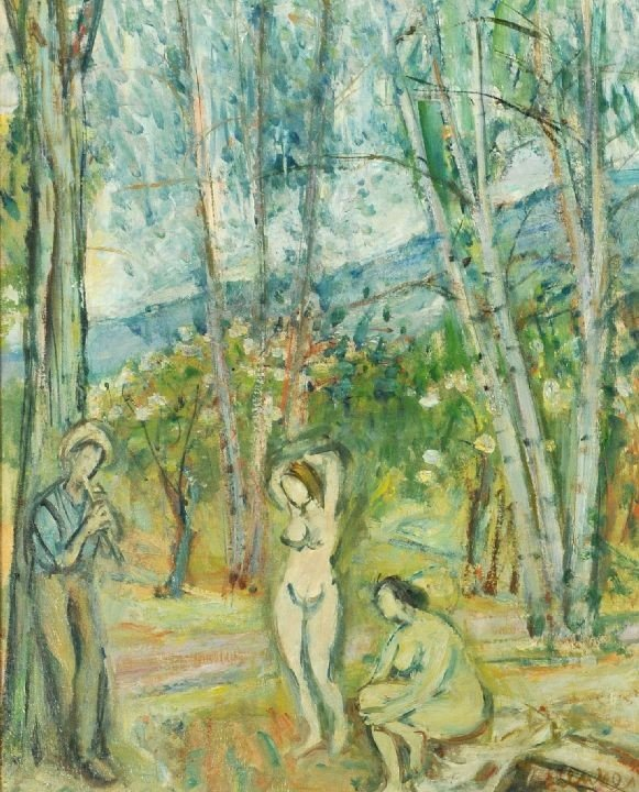 23: Sigmund Menkes (1896- 1986) Figures in a Forest, Oi