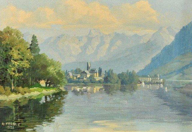 11: Rudolf Ferbus (b. 1929) Alpine Scene with Lake