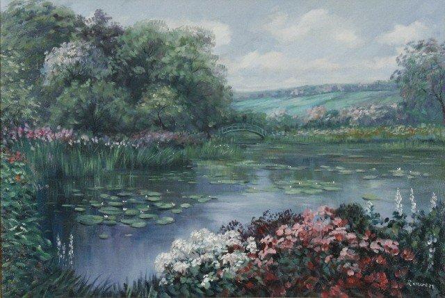 18: R. Owen (b.1951) Pond with Bridge, Oil on canvas