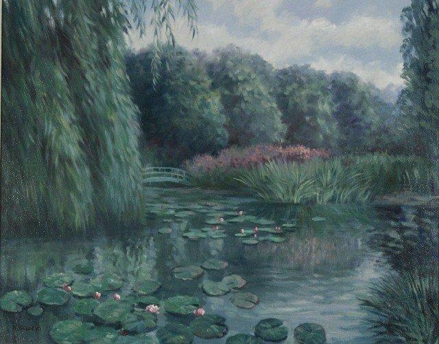 21: R. Owen (b.1951) Lilies with a Bridge