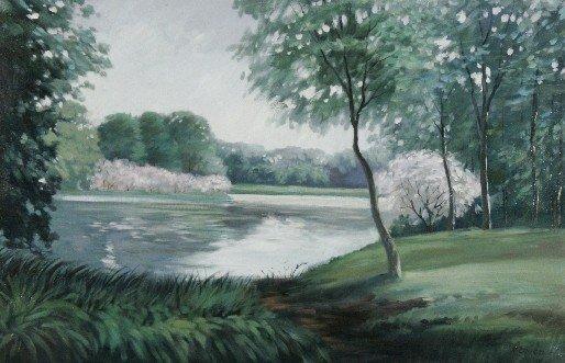 22: R. Owen (b.1951) Landscape with Lake, Oil on canvas