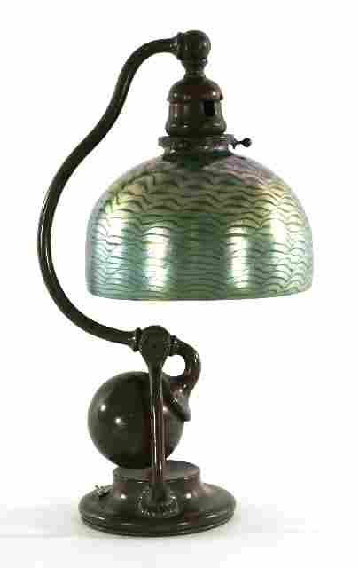 A Tiffany Studios Counterbalance Bronze Desk Lamp