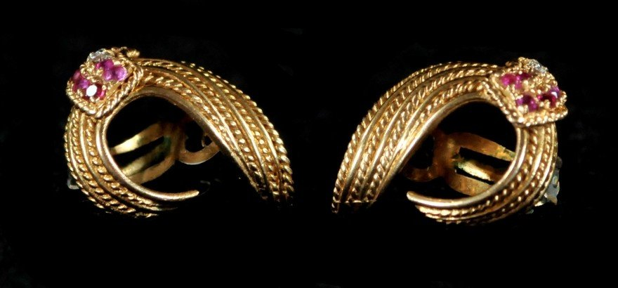 287: A Pair of 14 kt. Yellow Gold Earrings - 5