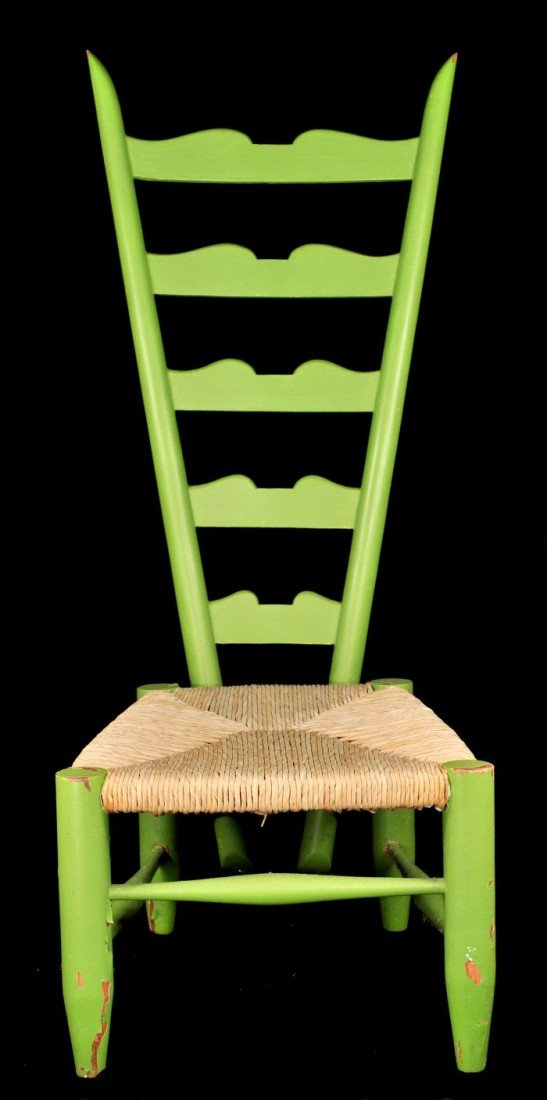 329: A Gio Ponti Style Ladderback Chair with Rush Seat