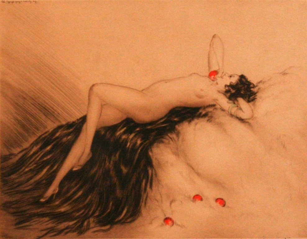 25: Louis Icart (1888-1950) Eve, Dry point etching,