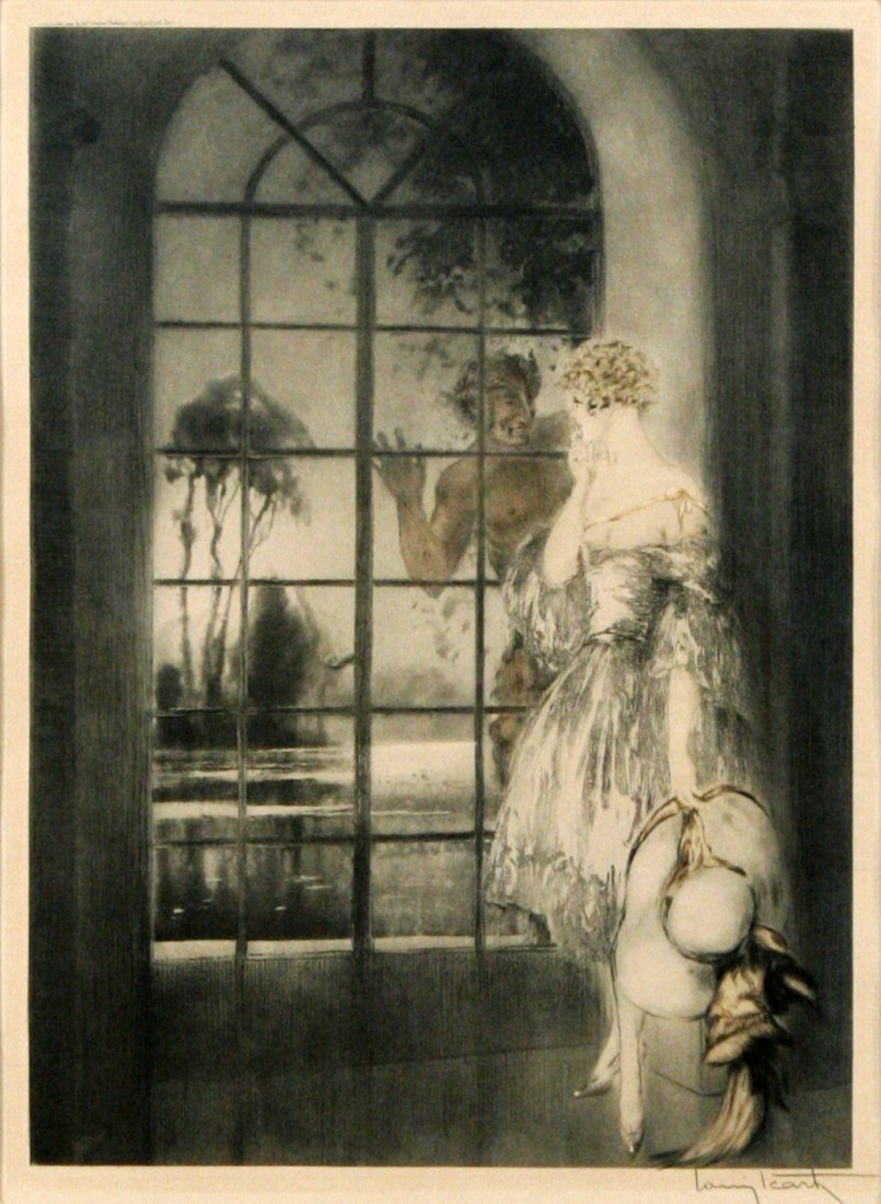 26: Louis Icart (1888-1950) Window, Dry point etching,