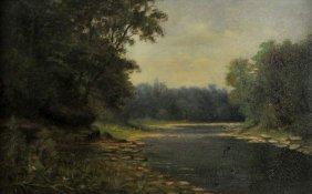 William F. Mott (19th Century) River Landscape, Oil