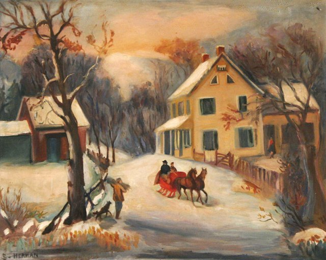 48: Attributed to Sali Herman (1893-1993) Winter Scene,