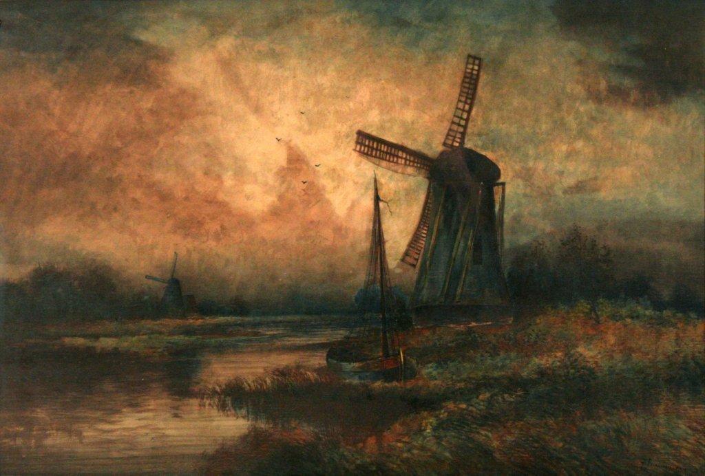 52: Henri De Le Coeuillerie (19th Century) Windmill Sce