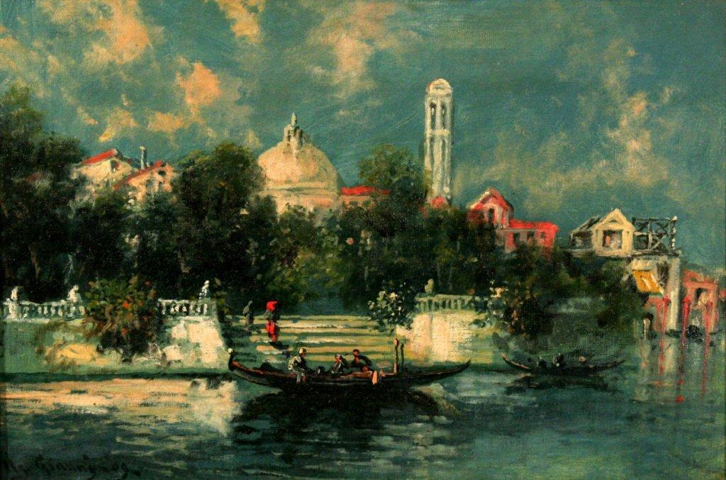 53: Umberto Gianni (19th-20th Century) Venetian Canal S