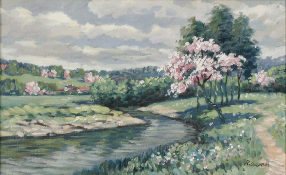 56: R. Owen (b. 1951) At the River's Edge, Oil on canva