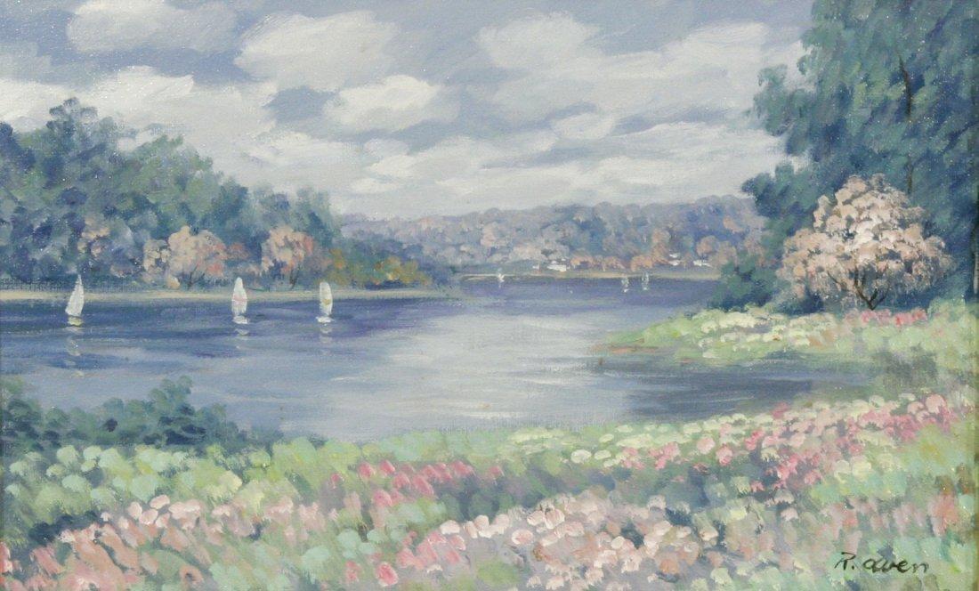 57: R. Owen (b.1951) Sailboats on a Lake, Oil on canvas