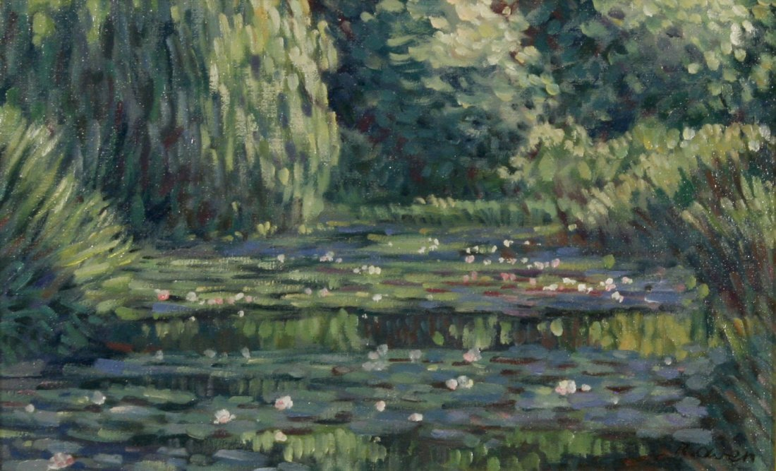 58: R. Owen (b.1951) Lilies in the Pond, Oil on canvas,