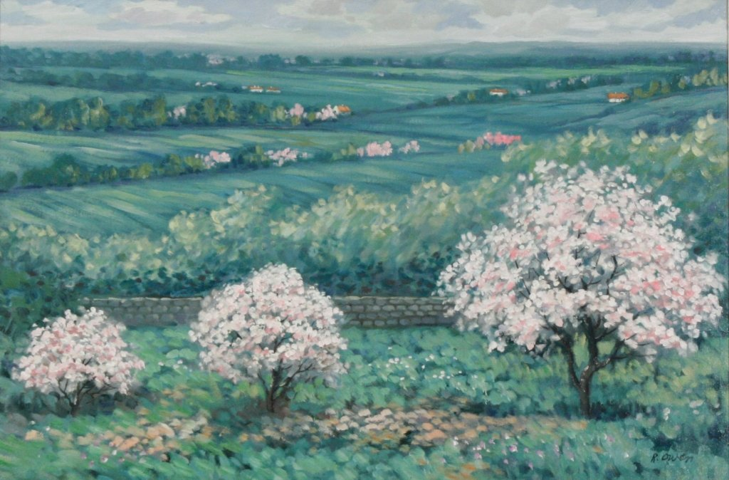 59: R. Owen (b.1951) A View from the Hill, Oil on canva