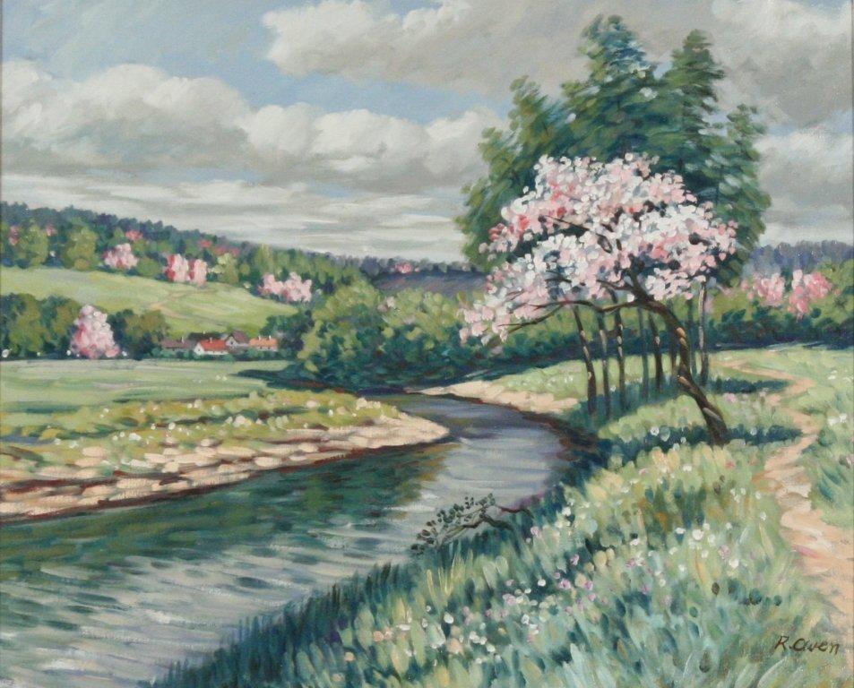 60: R. Owen (b.1951) A Springtime Landscape in Pink, Oi