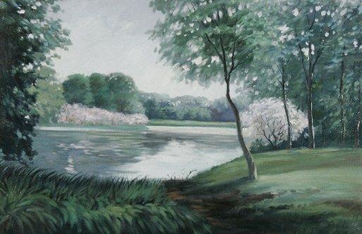 63: R. Owen (b.1951) Landscape with Lake, Oil on canvas