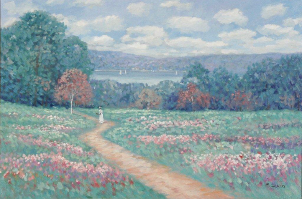 64: R. Owen (b. 1951) Woman on Path, Oil on canvas,