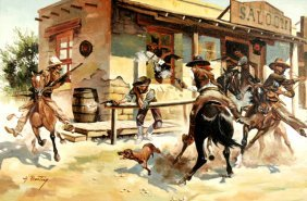 A. Bunting (20th Century) Western Scene, Oil On Can