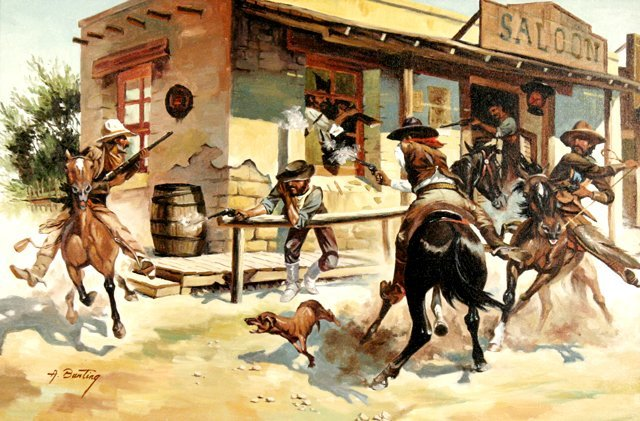 71: A. Bunting (20th Century) Western Scene, Oil on can